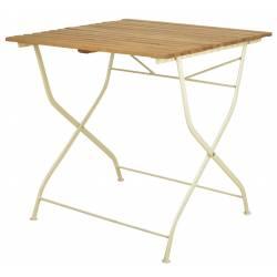 Table de Jardin Pliante Table de Repas Pliante en Bois et Acier Crème 77x78x78,4cm