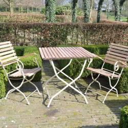 Salon de Jardin de Charme Table et Chaise de Repas en Bois et Acier Crème