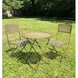 Salon de Jardin Auguste Table et Chaises de Jardin Ensemble Pliable d'Extérieur en Métal Marron Vert