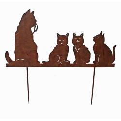 Charmante Plaque Décorative à Piquer Silhouette de Chats en Métal Marron 0,5x66,8x74,7cm