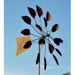 Envoûtante Eolienne sur Tige Moulin à Vent Décoration Animée de Jardin en Acier Oxydé 25x75x230cm