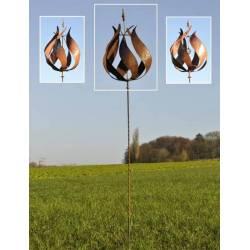 Eolienne Tulipe Mobile de Jardin Moulin à Vent en Acier Oxydé 50x50x250cm