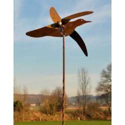 Mobile Jardin Eolienne sur Tige Motif Oiseau Décoration Animée en Acier Oxydé 20x55x203cm
