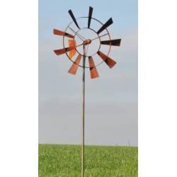 Eolienne Moulin à Vent Mobile Décoration de Jardin en Acier Brut Oxydé 20x55x235cm