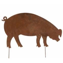 Cochon à Piquer Décoration de Jardin Ombre Silhouette Porc Porcine en Métal Oxydé 0,5x44x60cm
