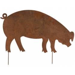 Grand Cochon à Piquer Décoration de Jardin Ombre Silhouette Porc Porcine en Métal Oxydé 0,5x54x73cm