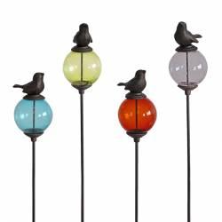 Tuteur Pic de Jardin Coloré Tige avec Motif Oiseaux en Fonte et Verre 10x10x117cm