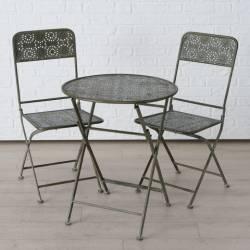 Salon de Jardin Greta Salon de Thé 2 Places Personnes Table Bistrot et 2 Chaises Pliantes en Métal Patiné Kaki