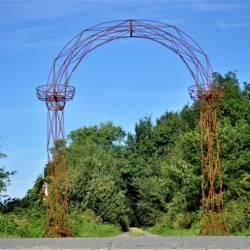 Prestigieuse Arche à Rosiers Passage Portail de Jardin avec Porte Plante en Acier Brut Oxydé 44x220x250cm