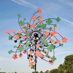 Sublime Eolienne Double Hélices Tuteur Mobile de Jardin en Acier Coloré 25x65x200cm