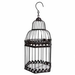 Grande Cage à Oiseaux à Poser ou Volière Décorative à Suspendre en Forme Hexagonale en Fer Patiné Marron 20x20x45cm