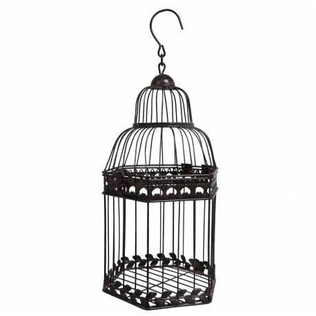 Petite Cage à Oiseaux à Poser ou Volière Décorative à Suspendre en Forme Hexagonale en Fer Patiné Marron 16x16x36cm