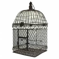 Grande Cage à Oiseaux Intérieur Extérieur ou Volière Décorative de Forme Carrée en Fer Patiné Marron 23,5x23,5x53,5cm