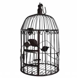 Petite Cage à Oiseaux à Poser ou Volière Enclos à Volatiles Ronde à Suspendre en Fer Patiné Marron 19x19x42cm