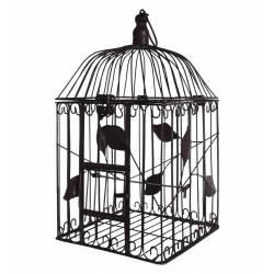 Grande Cage à Oiseaux à Poser ou Volière Enclos à Volatiles Carrée à Suspendre en Fer Patiné Marron 22,5x22,5x51cm