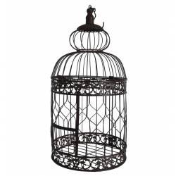 Moyenne Cage à Oiseaux à Poser ou Volière Enclos à Volatiles Ronde à Suspendre en Fer Patiné Marron 23x23x54cm