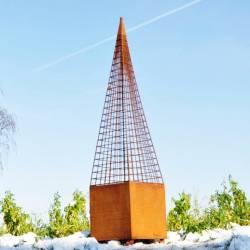 Grande Topiaire Obélisque Cône avec Bac Jardinière Carré en Acier Oxydé 42x42x188cm