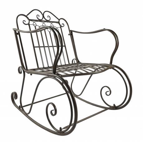 Rocking Chair Vienne Marron Chaise Fauteuil de Jardin à Bascule Intérieur Extérieur en Métal Patiné 67x88x92cm