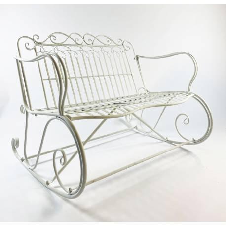 Rocking Chair Double Vienne Blanc Fauteuil 2 Places de Jardin Banc à Bascule Intérieur Extérieur en Métal Patiné 88x89x114,5cm
