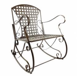 Rocking Chair Louisiane Marron Chaise Fauteuil de Jardin à Bascule Intérieur Extérieur en Métal Patiné 60x80x89cm