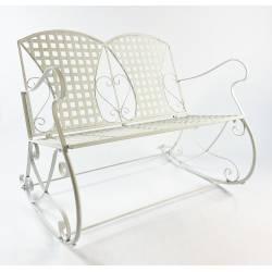 Rocking Chair Double Louisiane Blanc Fauteuil 2 Places Banc à Bascule Intérieur Extérieur en Métal Patiné 80x89x104,5cm