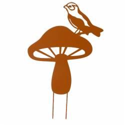 Tuteur Pic de Jardin Motif Champignon et Oiseau Tige en Métal Marron 30x49cm