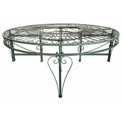 Banc Modulo Assise Circulaire Motif Volutes Tour d'Arbre Banquette de Parc Modulable en Acier Couleur Vert Antique 68x135x270