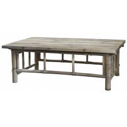 Table Basse Lyon Table d'Appoint Sellette Bout de Canapé en Rondins de Bambou Couleur Naturelle 35x60x100cm