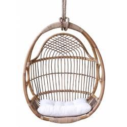 Ancienne Balancelle avec Coussin en Tissu Blanc Chaise Suspendue en Bambou et Rotin Tressé 59x82x106cm