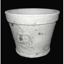 Moyen Cache Pot ou Jardinière Façon Poterie Ancienne en Terre Cuite Ton Pierre 13,5x13,5x17cm