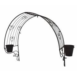Marquise Arche de Porte Fronton Décoratif avec 2 Jardinière Cache Pot en Fer Patiné Marron 35x95x136cm