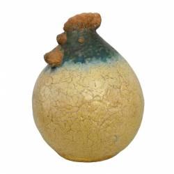 Coq de Jardin ou Statuette de Volatile Décorative en Terre Cuite Émaillée Jaune 17,5x17,5x21,5cm