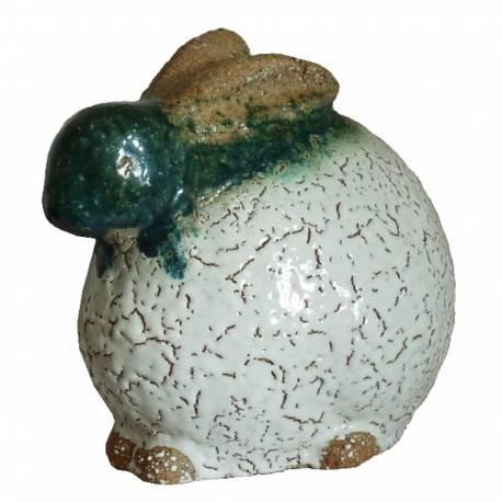 Lapin de Jardin ou Statuette de Lièvre Décorative en Terre Cuite Emaillée Blanche 13x22x23cm