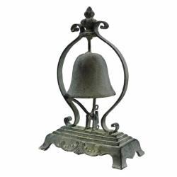 Clochette de Comptoir ou Présentoir à Cloche Carillon à Poser en Fonte Patinée Grise 8,5x17x26,5cm