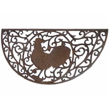 Tapis Forme Demi Lune ou Gratte Pieds Motif Coq en Fonte Patinée Marron 2x41x81cm