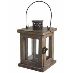 Lanterne Lampion Carré ou Bougeoir de Jardin Intérieur Extérieur en Bois & Fer Patiné Marron 13x13x20cm