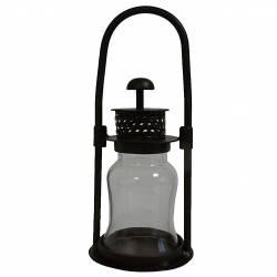 Lanterne Photophore Décorative à Poser ou Lampe Tempête Bougeoir à Suspendre en Fer et Verre Patiné Marron 10,5x10,5x28cm