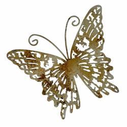 Petit Papillon Décoratif à Poser ou Décoration Murale à Fixer en Fer Patiné Multicolore 3,5x21x25cm