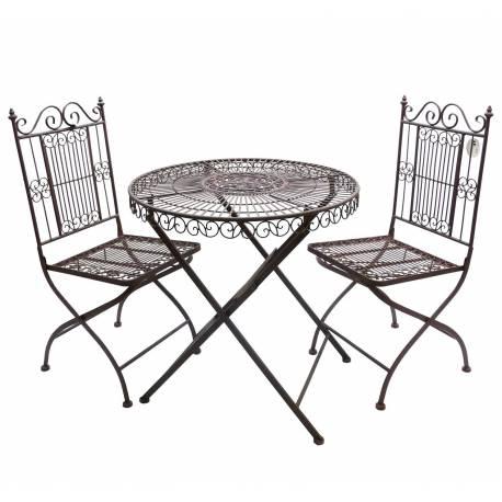 Salon De Jardin 2 Personnes The Bistrot 1 Table Chaises En Fer Marron