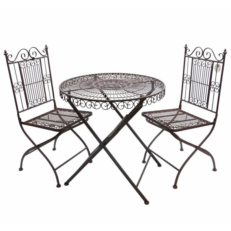salon de jardin 2 personnes salon de the bistrot 1 table 2 chaises en fer marron r ves de jardins. Black Bedroom Furniture Sets. Home Design Ideas