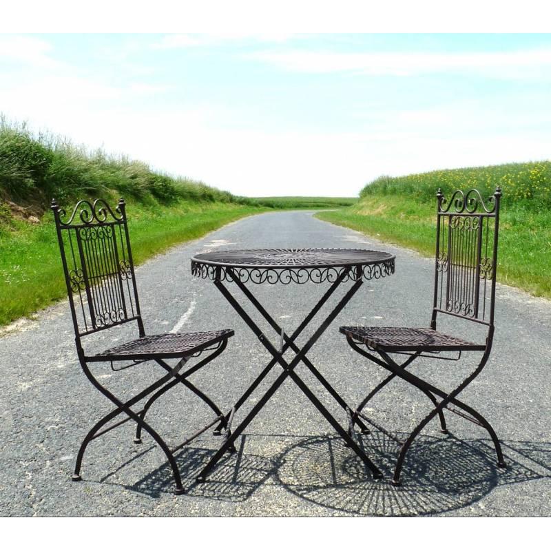 Salon de jardin 2 personnes salon de the bistrot 1 table 2 - Salon de jardin bistrot ...