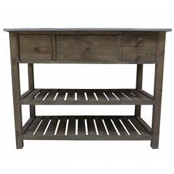 Console de Rempotage Style Ancienne Table de Drapier Meuble de Métier en Bois & Zinc 50x79x102cm