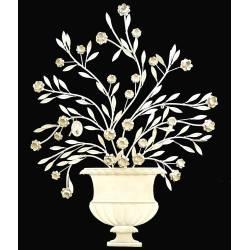Fronton Mural à Poser Applique Décorative Motifs Floraux en Fer Patiné Gris Clair 3,5x79x97cm
